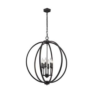 Feiss Corinne Collection 24.5-in x 27.87-in Oil-Rubbed Bronze Cage 6-Light Pendant Light
