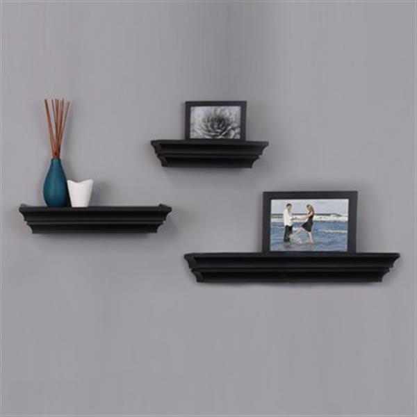 Kiera Grace Madison Black Wall Shelves (Set of 3)
