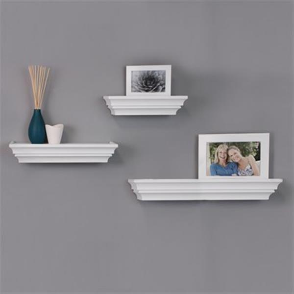 Kiera Grace Madison White Wall Shelves (Set of 3)