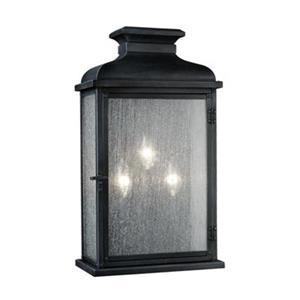 Feiss Pediment 2-Light 18-in Dark Weathered Zinc Outdoor Sconce.