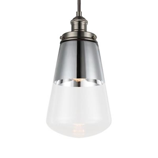Feiss Waveform Collection 7.37-in x 14.5-in Polished Nickel Bell Mini Pendant Light