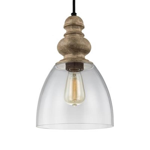 Feiss Matrimonio Collection 9-in x 13.75-in Dark Weathered Zinc Bell Mini Pendant Light