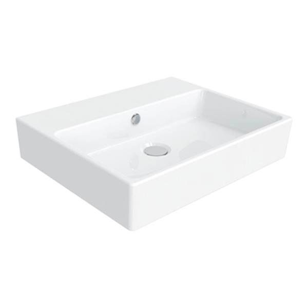 WS Bath Collections Simple 19.70-in x 15.70-in White Ceramic Rectangular Wall Mount/Vessel Sink