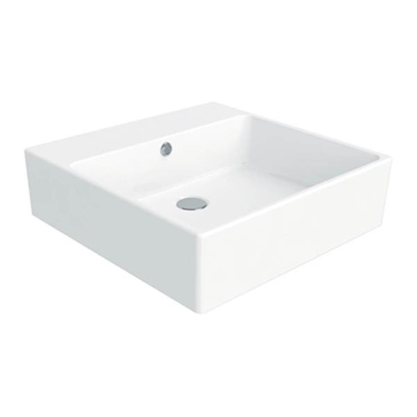 WS Bath Collections Simple 19.70-in x 19.70-in White Ceramic Square Wall Mount/Vessel Sink