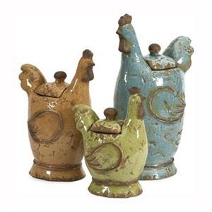 IMAX Worldwide Cherda Ceramic Lidded Roosters (Set Of 3)