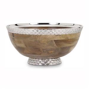 IMAX Worldwide Aluminum/Mango Wood Pedistal Bowl