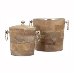 IMAX Worldwide Brown Makana Wood Bar Buckets (Set of 2)