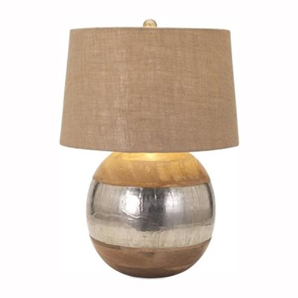 IMAX Worldwide Nessa Wood and Metal Clad Lamp