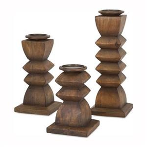 IMAX Worldwide Desta Wood Candle Holders (Set of 3)