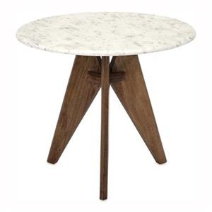 IMAX Worldwide Febe 22-in x 19-in Tall Marble and Wood Table