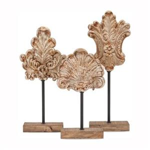 IMAX Worldwide Angelil Resin/Iron  Floral Sculptures On Stands (Set Of 3)
