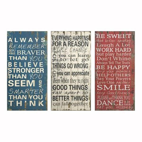 IMAX Worldwide 47.25-in x 23.75-in Rules of Life Wall Decor (Set of 3)