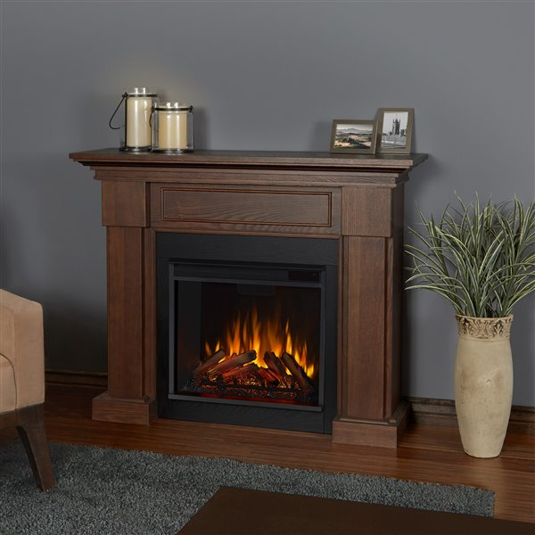 Real Flame Hillcrest 38.6-in x 48.40-in Brown Electric Fireplace