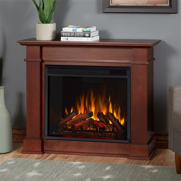 Real Flame Devin 30.4-in x 36.30-in Brown Electric Fireplace
