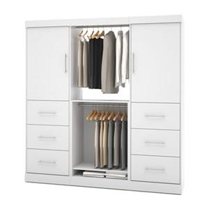 Bestar Nebula White 80-in 6 Drawer/2 Door Storage Kit