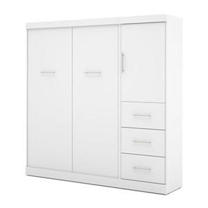Bestar Nebula Collection 83.60-in x 83.30-in White 84-in 1 Door 3 Drawer Murphy Style Bed