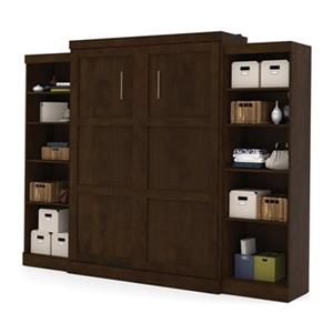 Bestar Pur Collection 114.60-in x 89.10-in Chocolate Double Side 25-in Open Storage Murphy Style Bed