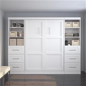 Bestar Pur Collection 108.60-in x 83.70-in White Double Side 25-in 3 Drawer Open Storage Murphy Style Bed