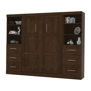 Bestar Pur Collection 108.60-in x 83.70-in Chocolate Double Side 25-in 3 Drawer Open Storage Murphy Style Bed