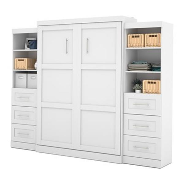 Bestar Pur Collection 114.60-in x 89.10-in White Double Side 25-in 3 Drawer Open Storage Murphy Style Bed