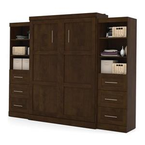 Bestar Pur Collection 114.60-in x 89.10-in Chocolate Double Side 25-in 3 Drawer Open Storage Murphy Style Bed