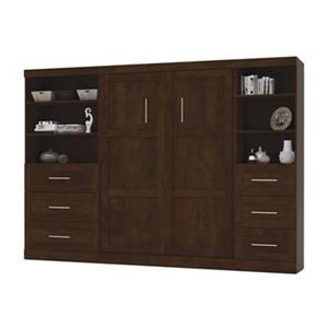 Bestar Pur Collection 119.40-in x 83.70-in Chocolate Double Side 36-in And 25-in 3 Drawer Open Storage Murphy Style Bed