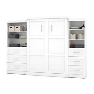 Bestar Pur Collection 125.30-in x 89.10-in White Double Side 36-in And 25-in 3 Drawer Open Storage Murphy Style Bed