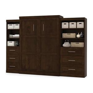 Bestar Pur Collection 125.30-in x 89.10-in Chocolate Double Side 36-in And 25-in 3 Drawer Open Storage Murphy Style Bed