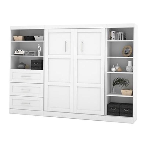 Bestar Pur Collection 119.40-in x 83.70-in White Double Side 36-in 3 Drawer/25-in Open Storage Murphy Style Bed
