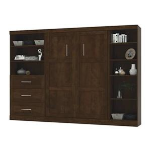 Bestar Pur Collection 119.40-in x 83.70-in Chocolate Double Side 36-in 3 Drawer/25-in Open Storage Murphy Style Bed