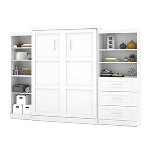 Bestar Pur Collection 125.30-in x 89.10-in White Double Side 36-in 3 Drawer/25-in Open Storage Murphy Style Bed