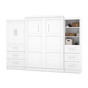 Lit escamotable Bestar blanc, 125,30 po x 89,10 po avec armoires et tiroirs de rangement, collection Pur