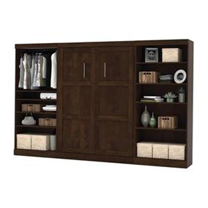 Bestar Pur Collection 130.20-in x 83.70-in Chocolate Double Side 36-in Open Storage Murphy Style Bed