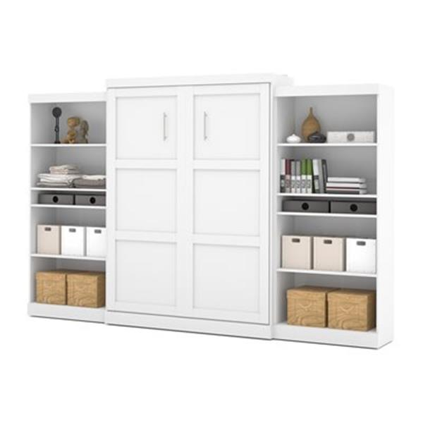 Bestar Pur Collection 136-in x 89.10-in White Double Side 36-in Open Storage Murphy Style Bed
