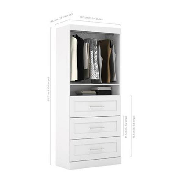 Ensemble de rangement Bestar à 3 tiroirs et tablettes ouvertes, blanc, 36 po