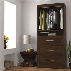 Bestar Pur Collection 36-in Brown 3 Drawer/Open Shelves Storage Unit