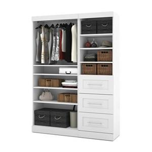 Bestar Pur Collection White 61-in 3 Drawer/Open Shelves Classic Storage Kit