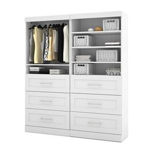 Bestar Pur Collection White 72-in 6 Drawer/Open Shelves Classic Storage Kit