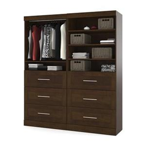 Bestar Pur Collection Brown 72-in 6 Drawer/Open Shelves Classic Storage Kit