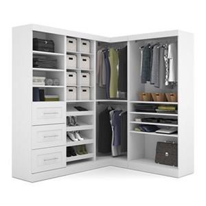 Bestar Pur Collection White 82-in 3 Drawer/Open Shelves Corner Storage Kit