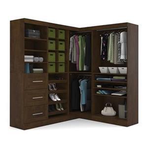 Bestar Pur Brown 82-in 3 Drawer/Open Shelves Corner Storage Kit