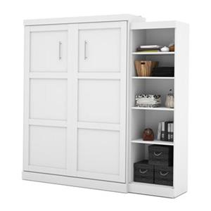 Bestar Pur Collection 89.50-in x 89.10-in White Single Side 25-in Open Storage Murphy Style Bed