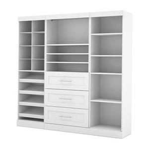Bestar Pur White 86-in 3 Center Drawer/Multi Shelf Classic Storage Kit