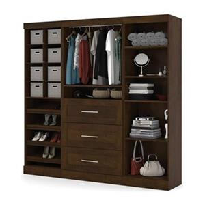 Bestar Pur Collection Brown 86-in 3 Drawer/Multi Shelf Classic Storage Kit