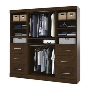 Bestar Pur Collection Brown 86-in 6 Drawer/Multi Shelf Classic Storage Kit