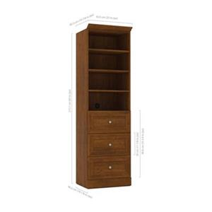 Bestar Versatile Tuscany Brown 25-in 3 Drawer/Open Shelves Storage Unit