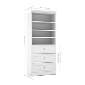 Bestar Versatile White 36-in 3 Drawer/Open Shelves Storage Unit