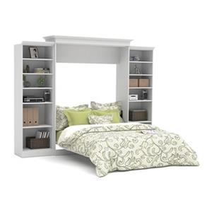 Bestar Versatile Collection 114.80-in x 89.90-in White Double Sided 25-in Open Storage Murphy Style Bed