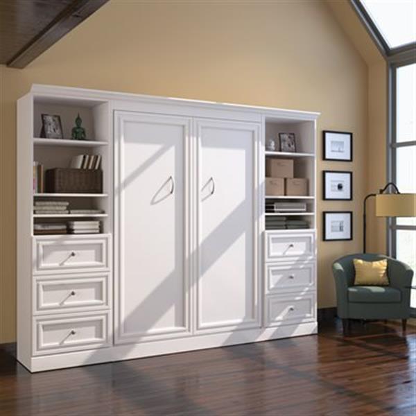 Lit escamotable Bestar blanc de style Murphy 108,60 po x 85 po avec rangement double côté, collection Versatile