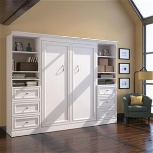 Bestar Murphy Bed with Shelving/Drawers - Full - White